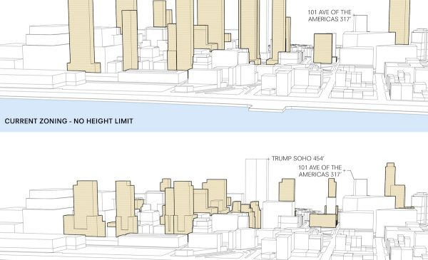 Towers will be slightly smaller than initially proposed following an agreement between the borough president and Trinity. (Trinity Real Estate)