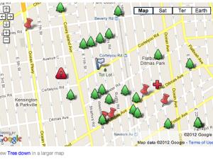 Ditmas Park Corner's fallen-tree map