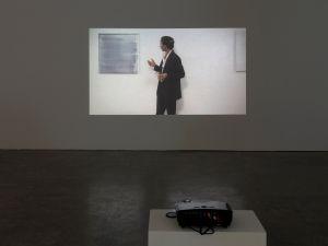 Installation view of Andrea Fraser' Kunst muß hängen (Art Must Hang),' 2001. (Courtesy the artist and Leo Koenig Inc.)
