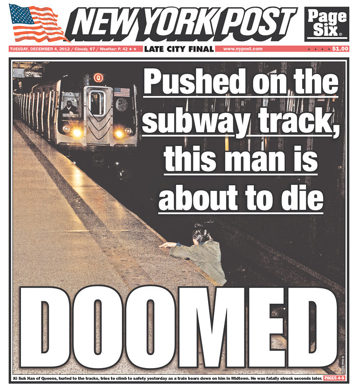 Graphic <em>New York Post</em> Cover Shows a Man About to Get Hit by a Subway