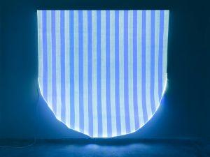 Daniel Buren, 'Photo-souvenir: Optical Fiber White and Blue Half Circle Situated Work,' 2012. (Courtesy the artist and Bortolami Gallery)