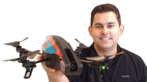 Dan Pacheco with the A.R. 2.0 Parrot drone. (Photo credit: JournoVation Journal).