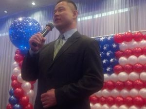 John Liu addresses the crowd.