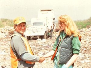 "Ms. Ukeles with Sanitation worker, from ""Touch Sanitation,"" 1978-80. (Courtesy Ronald Feldman Gallery)"