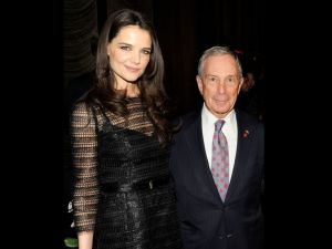 Katie Holmes and Mayor Michael Bloomberg.