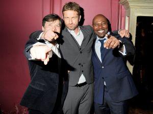 Gerard Butler, sandwiched between producer Alan Siegel and director Antoine Fuqua (PMc)
