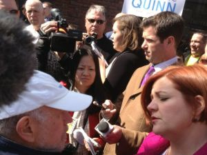 Herbert Goldman and Christine Quinn having a spirited discussion about term limits.