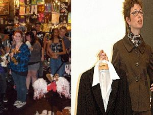 Hot Topic customers (left) and a Talbot's manager (right). Images via MarkScottAustinTX and Pennstatenews