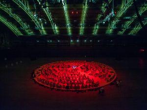 'Oktophonie.' Visuals by Tiravanija, sound projection by Kathinka Pasveer, sound design by Igor Kavulek and lighting design by Brian Scoot. (©Stephanie Berger/Park Avenue Armory)