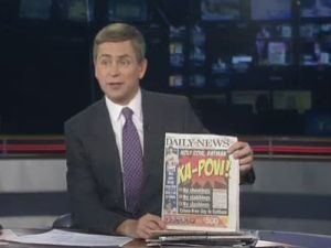 Pat Kiernan reads the papers. (Photo credit: NY1).
