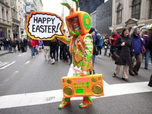 And finally, there was this guy: Davey Mitchello, who appears to be dressed as a neon, 90s-era, Easter robo-bunny. Oh, how we love New York!