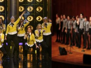 Two-toned: Performers from NBC's The Sing-Off (left) and Northeastern's a capella group, the Nor'Easters.
