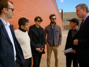 Bill de Blasio, Steve Buscemi, and Vampire Weekend. (Screengrab: YouTube)