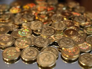 Physical novelty bitcoins from Utah. (Photo: George Frey/Getty Images)