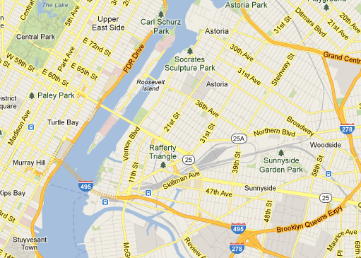 The site sits on Halletts Point, the bulbous peninsula in queens right above Roosevelt Island.
