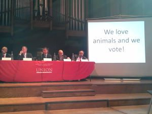 Mayoral candidates clash at an animal rights forum yesterday.