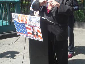 John Catsimatidis holds court outside City Hall.