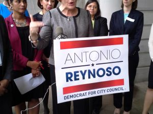 Council Speaker Christine Quinn, a candidate for mayor, denounces Vito Lopez.