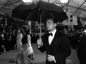 leo DiCaprio at a rain-drenched Cannes premier. (Getty Images)