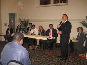 John Liu thanking the Three Parks Dems for their Endorsement. (Photo: Jill Colvin)