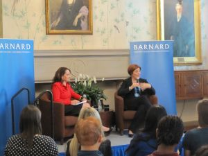 Christine Quinn being interviewed by Barnard President Debora Spar. (Photo: Jill Colvin)
