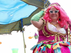 A colorful Mermaid Parade-goer (Featured in the parade's Kickstarter video)
