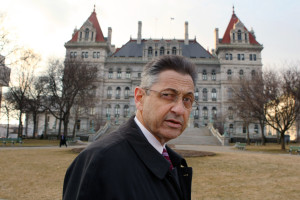 Assembly Sheldon Silver in front of the Assembly building (Photo: Getty Images).