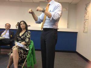 Anthony Weiner speaking on the Upper West Side.