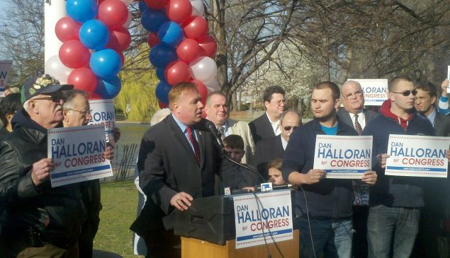 Daniel Halloran kicking off his bid for Congress in 2012. (Photo: Colin Campbell/New York Observer)
