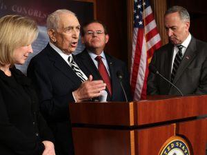 Senators Gillibrand, Lautenberg and Schumer. (Photo: Getty)