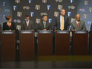 The candidates on stage at the debate. (Photo: NY1)