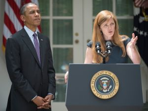 President Barack Obama and Samantha Power. (JIM WATSON/AFP/Getty Images)