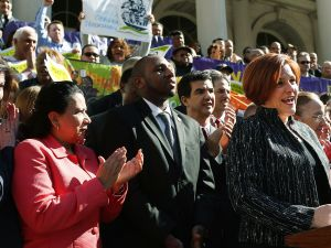 Christine Quinn speaking at a paid sick leave rally. (Photo: Spencer Platt/Getty Images)