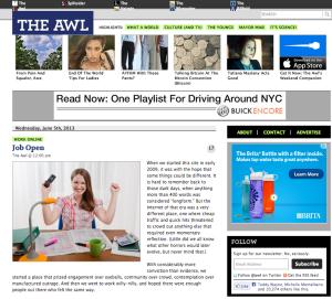 Screenshot of The Awl.