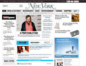 Screenshot of the old NYMag homepage.