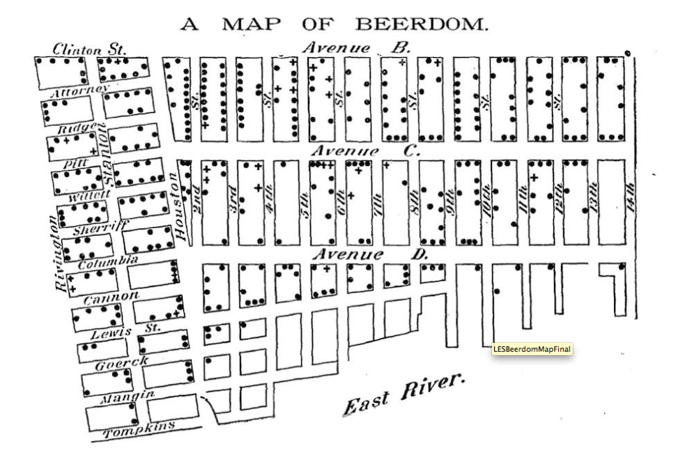 Bring Back Beerdom! Map Shows LES Had FIVE Times as Many Bars in 1885