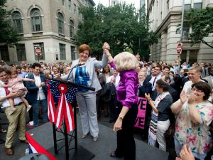 Former City Council Speaker Christine Quinn, left, and LGBT rights activist Edie Windsor, right.
