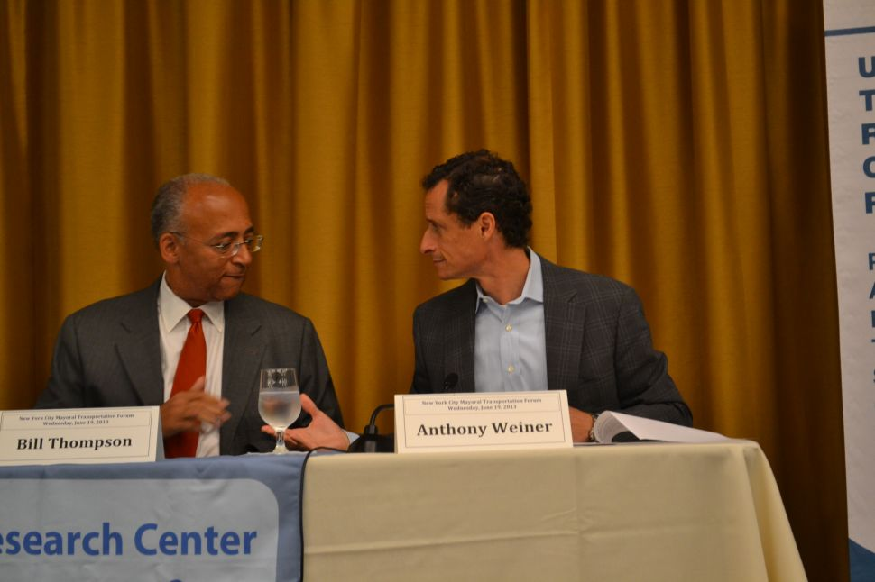 Thompson Accuses Weiner of Being Swayed By Taxi Cash