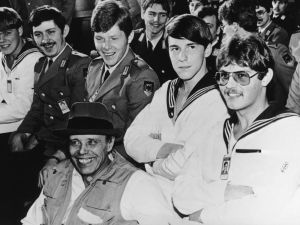 German artist Joseph Beuys (1921 - 1986) among servicemen at the German ministry of defence, where he gave a lecture on his work, 1980. (Courtesy Getty Images)