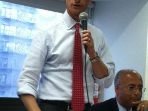 Anthony Weiner at this evening's candidate forum.
