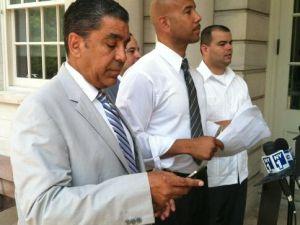 Ruben Diaz Jr. and Adriano Espaillat prepare to rail against Spitzer.