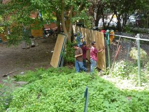 Construction crew from developer Serge Hoyda putting up plywood across a fence, separating their lot from the Children's Magic Garden. (Photo by Aresh Javadi).