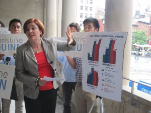 Christine Quinn wants to crack down on kids' meals.