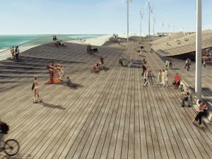 Seeding Office's design includes a wavy boardwalk and windmills.