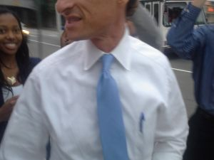 Anthony Weiner outside the mayoral forum in Jamaica, Queens.