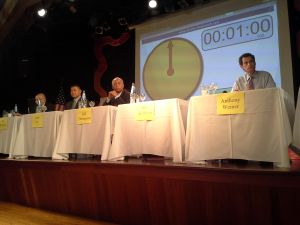 The mayoral candidates take the stage in Brighton Beach.