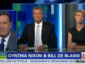 Bill de Blasio and Cynthia Nixon on Piers Morgan Live last night