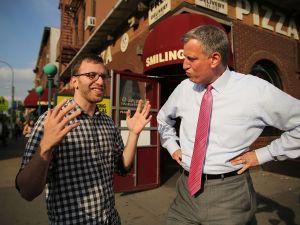 Bill de Blasio in Park Slope. (Photo: Getty)