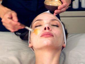 """Woman recieving the Geisha """"Bird Poop"""" Facial (Shizuka New York Day Spa)."""