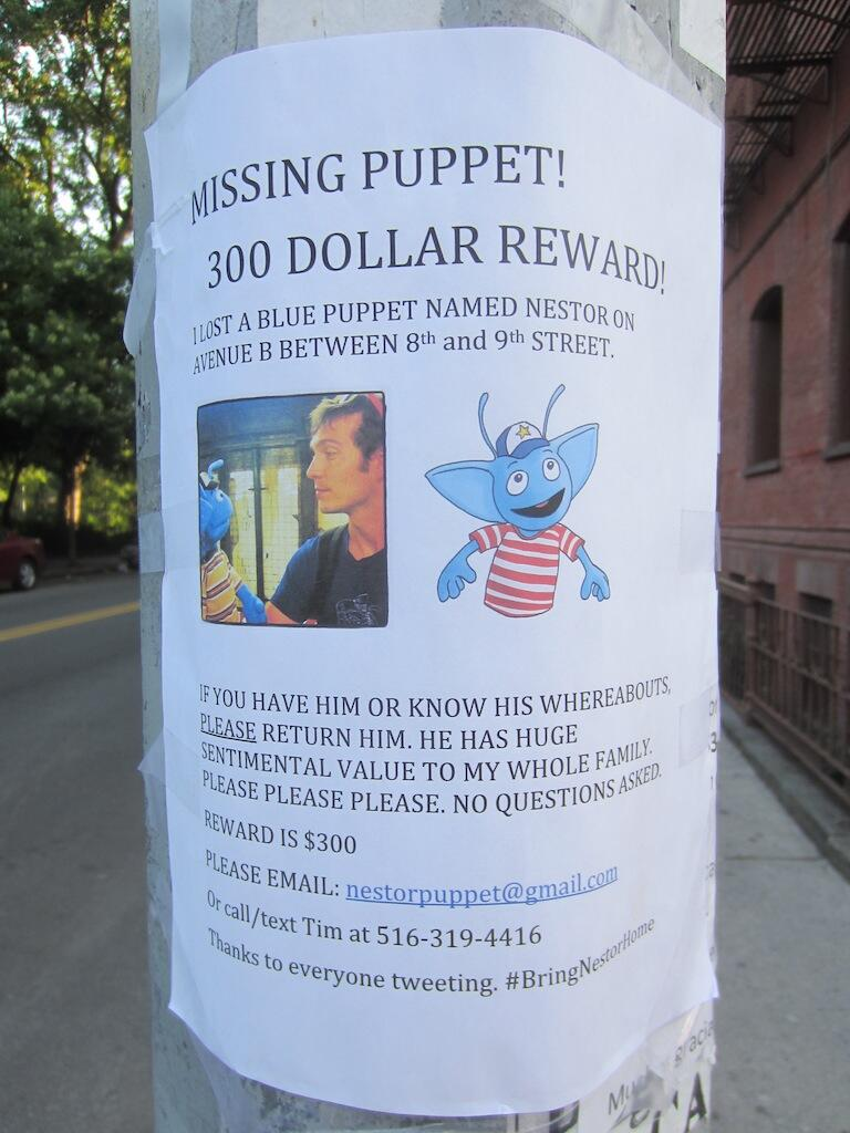 Mahna Mahna: Search Underway for Missing $1,500 Puppet in East Village